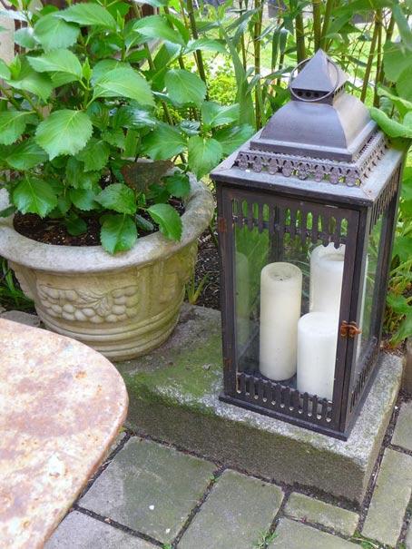 дачный декор фонарь со свечами