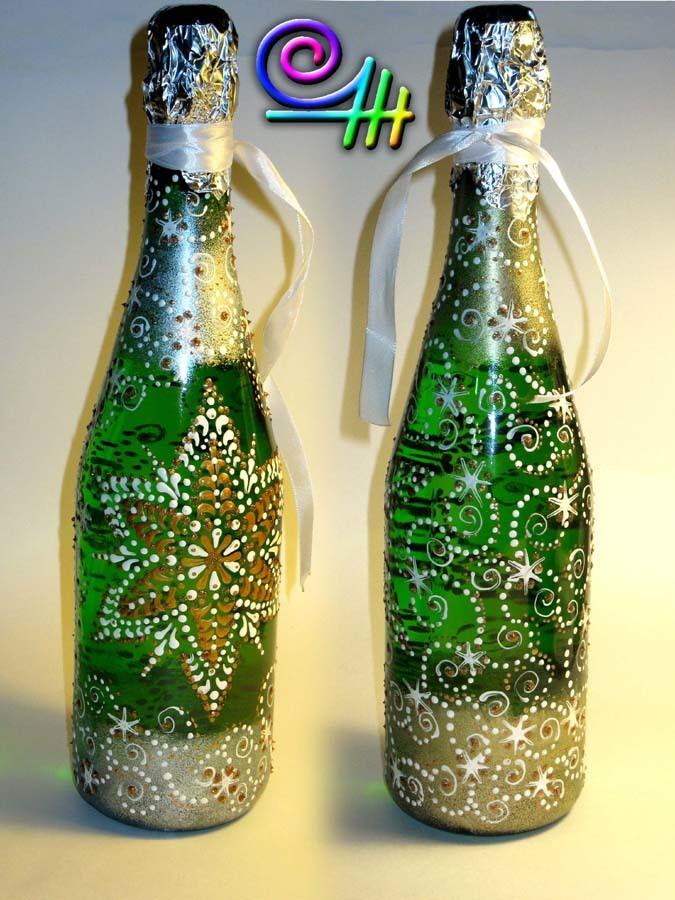 Роспись контурами на бутылках