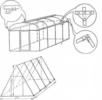 Еще один популярный вариант конструкции теплицы - шалашного типа.