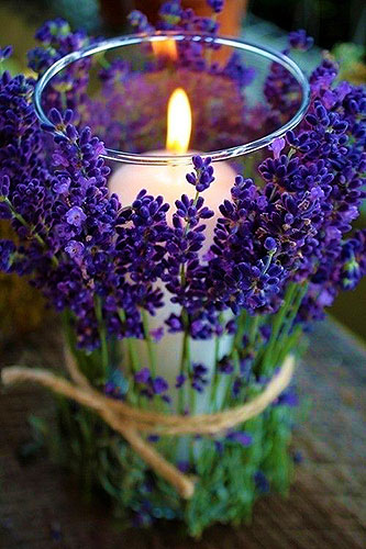 Декор стакана цветами лаванды
